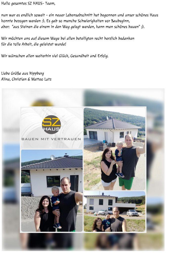 Wir haben uns sehr über das Schreiben der Familie Lutz gefreut